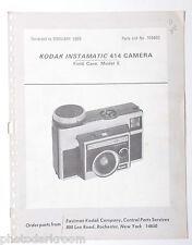 Kodak Instamatic 414 Camera & Case Model E Parts List 769403 1969 - ORIGINAL B27