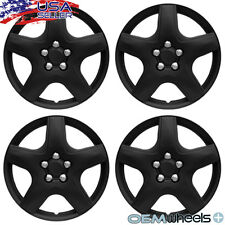 "4 NEW OEM MATTE BLACK 15"" HUBCAPS FITS FORD SUV CAR CENTER WHEEL COVERS SET"