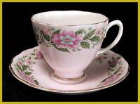 Colclough Pink Floral Cups & Saucers
