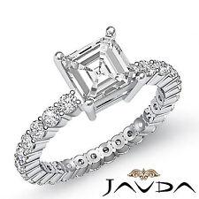 Asscher Diamond Bezel Eternity Engagement Ring GIA F VS2 14k White Gold 1.8 ct
