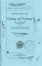 US Army WWI Doughboy 1913 Clothing & Equipment Price List - Reprint