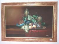 Dipinto olio su tela Frutta nAtura Morta Cornice in legno oro anticato 107x77