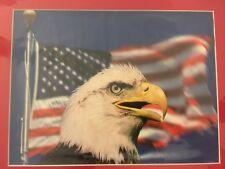 Art Print: American Bald Eagle With Flag 11 X 14 PRINT READY TO FRAME