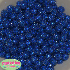 12mm Deep Royal Blue Resin Rhinestone Bubblegum Beads Lot 40 pc.chunky gumball
