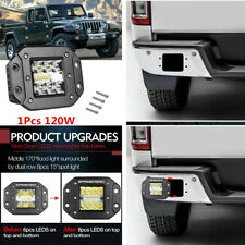1Pcs Offroad Flush Mount Led Pods Work Light 120W 4WD SUV Bumper Reverse Flood