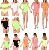 Neon orange yellow pink short sleeve off shoulder ladies bodysuit  8-14 womens