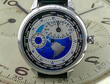 Sensational World Time Big Regulator Watch With Map on Dial