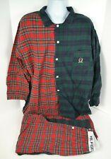 Vtg 1990's Tommy Hilfiger Men's Flannel Pajamas Red/Blue/Green Plaid L/XL