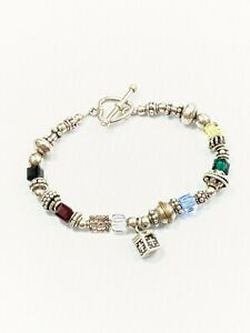 Sterling Silver 925 Rainbow Square Glass Bead Cross Box Charm Bracelet 8 Inches