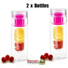 2 x INFUZEH20 FRUIT INFUSER PINK BOTTLE BPA FREE MAKE YOUR OWN FLAVOURED H2O