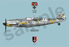 aviation art A3+ 13 x 19 Luftwaffe pilot Erich Hartmann JG 52 color photo print