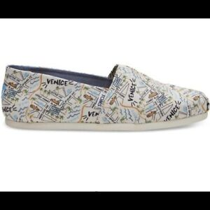 NWB TOMS Natural Canvas Venice Print Slip On Shoes Size 10