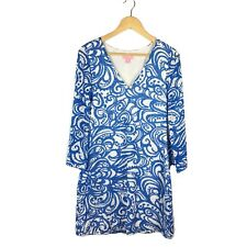 Lilly Pulitzer Sz M Jade Dress Resort White Blue Current Affairs Lace V-neck