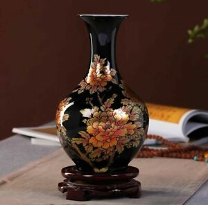 Jingdezhen Black Ceramic Vase Porcelain Chinese Handmade Antique Reproduction #4
