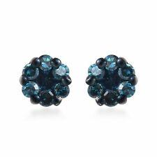 Plata esterlina 925 pendientes con solitario Diamante Azul Regalo CT 0.2 I3 claridad