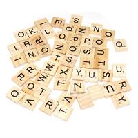 Wooden Alphabet Tiles Black Letters Numbers For Scrabble Children Toy 100pcs