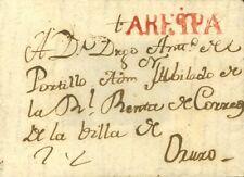 Perú. Sobre . 1820. Frontal de AREQUIPA a ORUJO. Marca AREQPA, en rojo (P.E. 3)