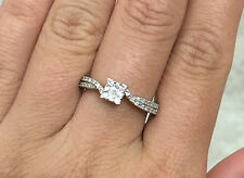 10k White Gold Natural Diamond Square Cluster Pave Wedding Engagement Ring
