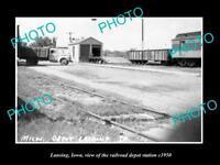 OLD LARGE HISTORIC PHOTO OF LANSING IOWA, THE RAILROAD DEPOT STATION c1950