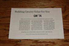 1974 Chevrolet GM Car Specifications & Suggested Retail Price Brochure 74 Chevy