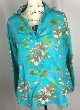 Fresh Produce Tunic Flamingo Floral Women's Blouse Turquoise Roll Tab Sz S Blue
