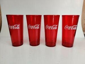 Coca-Cola Cups 24-Ounce Restaurant Grade Red Plastic Tumbler Carlisle Set of 4