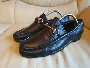 Gucci Mens Black Shoes Silver Horsebit  Loafers UK  9.5  US  10.5  EU 43.5