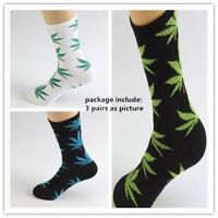 Unisex Women Men Marijuana Long Cotton Sport Weed Leaf Socks Ankle Sock Crew