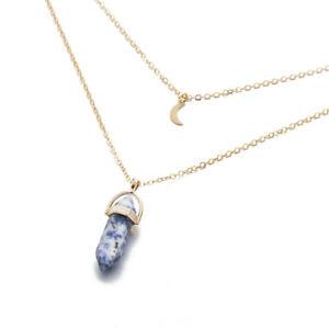 Reiki Energy Quartz Double Moon Pendant Hexagonal Stone Pendulum Necklace Gift