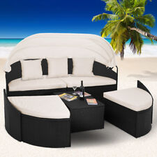 Sonneninsel Poly Rattan Lounge Sitzgruppe Gartenliege Sonnenliege Gartenlounge