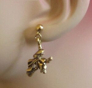 HALLOWEEN!!! FUN PRE-LOVED EARRINGS - 3-DIMENSIONAL WITCHES ON BROOMSTICKS!