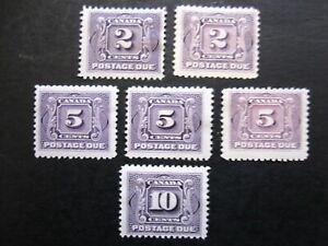 CANADA - SCOTT# J2,J2a,J4,J4a,J5 - MH - CAT VAL $230.00