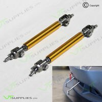 2 x Yellow Adjustable Front Bumper Support Tie Rod Bar Kit Splitter Lip Strut