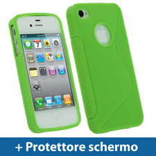Verde Custodia TPU Gel per Apple iPhone 4 & 4S 4G 16gb 32gb Case Cover Rigida