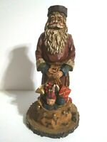 "Christmas Folk Art Santa Rustic Resin 9 1/2"" Tall Country Farmhouse"