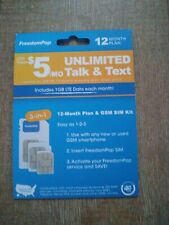 12 Months of Service 1GB Data Unl Talk and Text FreedomPop