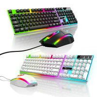 Rainbow LED Color Changing Backlit Wired Gaming Keyboard & Mouse Mechanical Feel