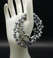 Genuine Pearl Bracelet 3 Strand Spiral Cuff