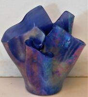 "Vintage irridescent art glass vase signed mystery artist 5"""