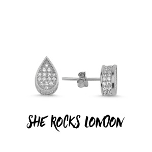 RHODIUM PLATED 925 SILVER PEAR SHAPE STUD EARRINGS WITH CUBIC ZIRCONIA