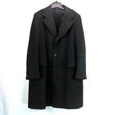 Mens L Vintage Crombie Overcoat Sabelere Scotland Wool Black Tailored Long Coat