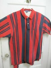 Vintage Nautica Mens Polo Size Large Red and Dark Blue Striped Shirt