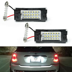 For Mini Cooper R56 R57 R58 R59 06-14 18-SMD White Led License Plate Light Lamps