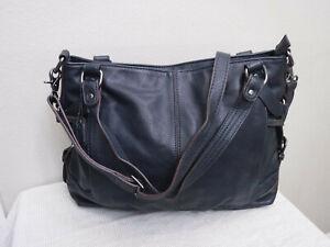 CLARKS Navy Blue Faux Leather Extra Large Hobo Satchel Handbag Purse Tote Bag