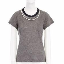 SACAI grey pearl crystal embellished linen cotton single pocket tshirt top JP1 S