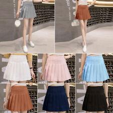 US Women Mini High Waist Tennis Skater A-line Flared Pleated Skirt Short Dress
