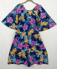 Vtg 60s Bright Floral Mod Hawaiian Dress with Sash & Bell Sleeves Tiki Cocktail