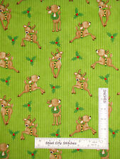 Christmas Fabric - Reindeer Green Stripe  HG&Co Kringle Krossing #6405 - Yard