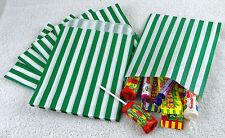 "100 Green & White Candy Stripe Paper Sweet Bags Wedding 5"" X 7"" Pick 'n' Mix Bag"