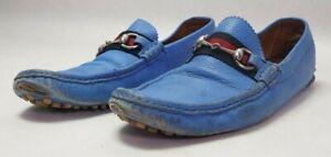 Gucci 322741 Horsebit Men's Driver Loafer Shoes 10.5 G - Blue